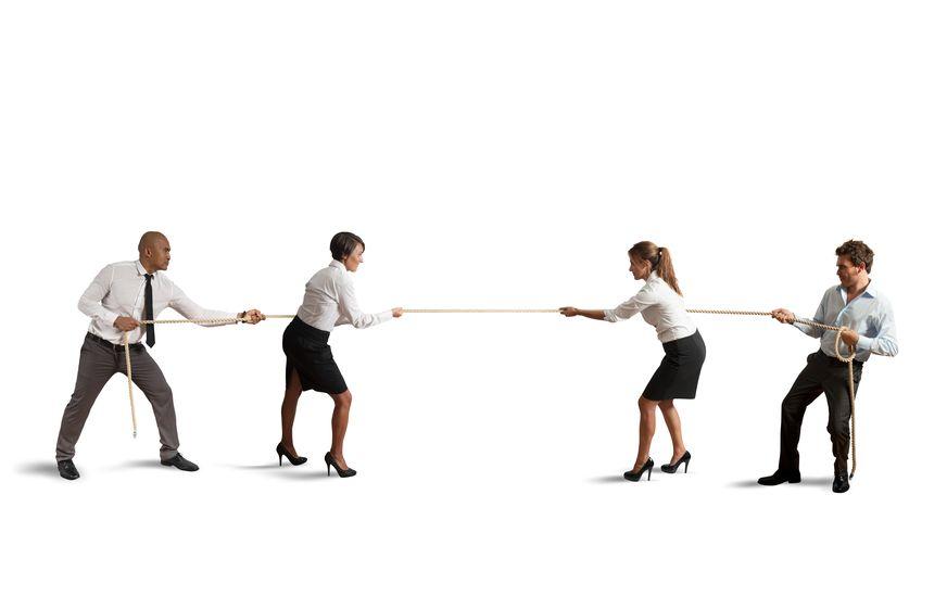 business partners tug of war